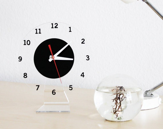 Floating Numbers Clock, Modern Wall or Desk Clock