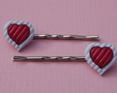 Heart Button Bobby Pins, Valentines Day Vintage Red White Valentines Bobby Pin Set Red Heart Bobby Pin Set Heart Hair Clip Set (Item 557)