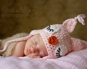 Sleepy Owl Earflap Hat with Braids, Pink Owl Toddler Hat Winter Baby Hat Pink Owl Hat, Newborn to 4 Years Size (Item 1506/----/1508/----)