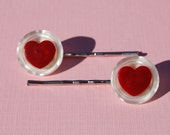 Valentine's Day Bobby Pins, Vintage Buttons Red Heart White Stacked, Valentine's Day Bobby Pin Set Red Heart Button Bobby Pins (Item 699)