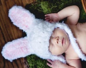 Bunny Photo Prop Set, Bunny Ears Hat with Braids and Adjustable Diaper Cover, Newborn Photography Custom Order, Newborn Size (Item 1033)