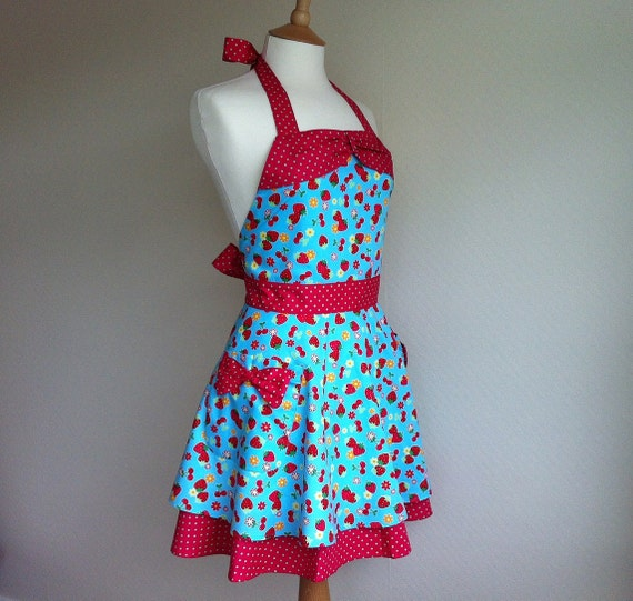 Retro apron with bow, half circle skirt, Strawberry and Cherry on a blue background. 1950s inspired, fully lined.