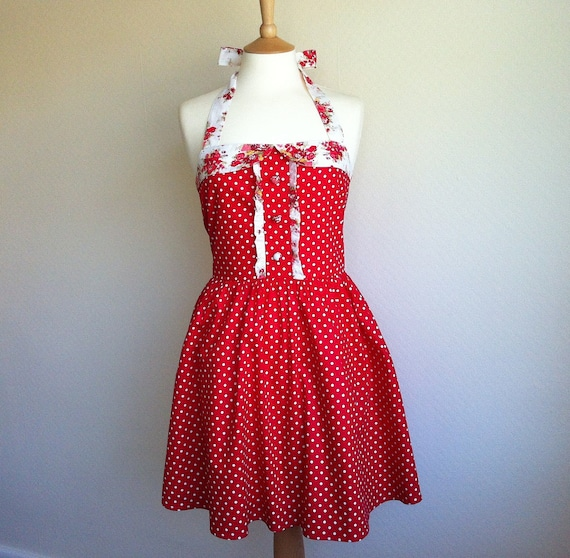 Spring Sale. Retro dress, SMALL SIZE, white polka dot on a red fabric, vintage inspired fully lined.