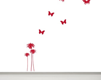 Flower and Butterfly Wall Decal, 3 Flowers and 5 Butterflies, Nursery Small Flower Decal, Vynil Decal Flower, Floral Wall Art, Red Flower