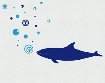 Whale Wall Decal, Wall Decals Whale and 20 Bubbles, Underwater Wall Decal, Bathroom Wall Decor, Bathroom Stickers, Kids Wall Decals