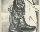 Cowboy Art, Cowboy Boots, 1939 Jockey Clothes By Lee Townsend, Hat And Boots,  Antique American Prints