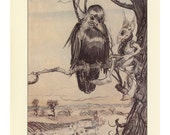 Crow Art, The Gossips Black Bird Raven And Human Mouse, Giant Looking At Man In Apple Tree, Arthur Rackham, USA, Antique Children Print