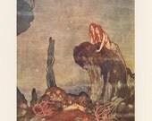 Mermaid Art, Ariel Mermaid Looking At Merman King, Shakespeare's Comedy Tempest, Edmund Dulac, USA, Antique Children Print