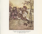 Alice in Wonderland Art, The King And Queen Of Hearts, And The Mock Turtle, Lewis Carroll, Arthur Rackham, Antique Print
