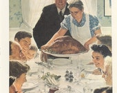 Norman Rockwell, Freedom From Want, Family Thanksgiving, Post Magazine Cover, Usa, America's Painter, Family 50's 60's 70's, Vintage Print