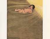 Fantasy Fairy Tale, The Water Babies, Floating, Jessie Wilcox Smith, Printed In Italy, Antique Children Print,