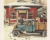 Christmas Art, Man Takes Packages From Blue Truck, Georgetown Post Office By Stevan Dohanos, Christmas, Antique Print, USA, 1975