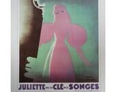 Vintage Paul Colin Poster, Pink Theatre Singer And Terre Sans Femmes, Vintage Poster Print, Jack Rennert, USA,1977