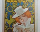 Vintage Bike Poster, Bicycle Print, Clement Cycles Woman Reading Book White Hat Shirt, Fahrradwerke Couple  Riding, Jack Rennert, USA, 1975