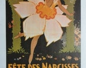 Vintage Dance Poster, Fete Des Narcisses Montreux Woman Dressed Flower Garden Background, And Serge Lifar, Print,  Jack Rennert, USA