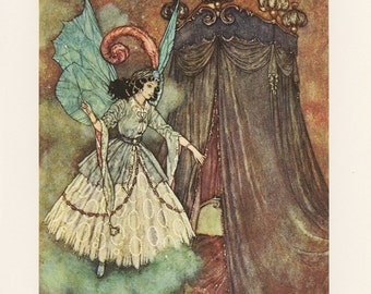 Beauty And The Beast, Fairy Blue Wings Wand Looking Into Canopy Bed, Edmund Dulac, Printed In Italy, Antique Children Print