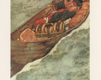 Shipwrecked Man And Woman In Boat With Treasure Trunk, Shakespeare Tempest, Edmund Dulac, USA, Antique Children Print