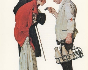 Norman Rockwell, The Milkman And The Young Couple All Dressed Up, Post Magazine Cover,  Usa, America's Painter, Family Of 50's 60's 70's