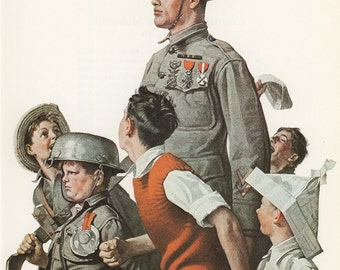 Norman Rockwell, The Nations Hero, Post Magazine Cover, Usa, America's Painter, Represents The Family Of 50's 60's 70's, Vintage Print