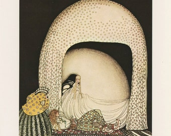 Princess Art, Princess Laying White Canopy Moon Bed Prince, Widow's Son, East Sun West Moon, Kay Nielsen, Antique Children Print, USA, 1975