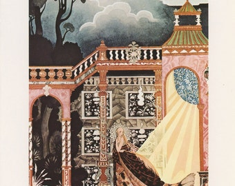 Princess Leaving Palace Royal Robes Dark Forest, Noir de Fumee Grimms Fairy Tales, Kay Nielsen, Antique Children Print, Printed In USA, 1975