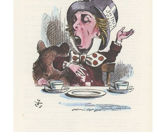 Mad Hatter Door Mouse Tea Party, Alice In Wonderland, Lewis Carroll, John Tenniel, USA, 1978, Antique Children Print