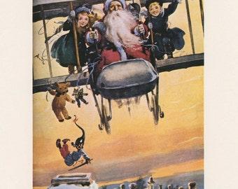 Santa Flying Airplane With Children Dropping Presents Down Chimney, Santas Aeroplane By Barrow, Christmas, Antique Print, USA, 1975