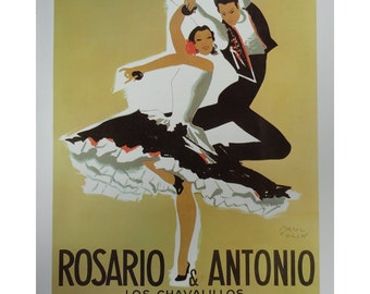 Vintage Paul Colin Poster, Salsa Spanish Dancers And Train Tracks, Vintage Poster Print, Jack Rennert, USA,1977