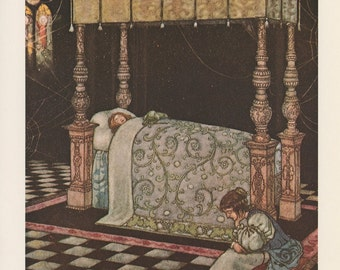 Sleeping Beauty, The Most Beautiful Sight He Had Ever Seen, W Heath Robinson, Antique Print, USA, 1976