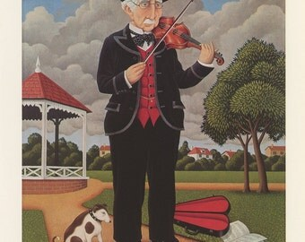 The Musician, Old Man Plays Violin With Dog In The Park, Fred Aris, Antique Print, London, 1974