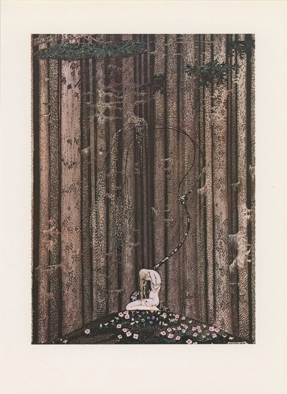 Princess Art, Princess Weeping Knees Despair Wispy Willow Tree, East Sun West Moon, Kay Nielsen, Antique Children Print, USA, 1975