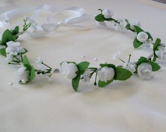 Wedding Hair Garland bride headwreath Accessory White rose Pearl Flower Crown bridal headpiece flower girl halo rose circlet First Communion