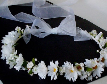 First Communion Halo Wedding flower crown hair wreath accessories daisy Bridal Veil alternative silk flower crown pearls flower girl circlet