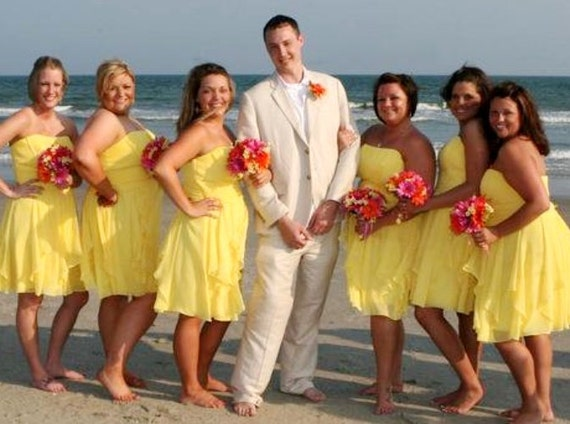 Items similar to beach weddings silk bouquets orange hot for Pink and orange wedding dresses