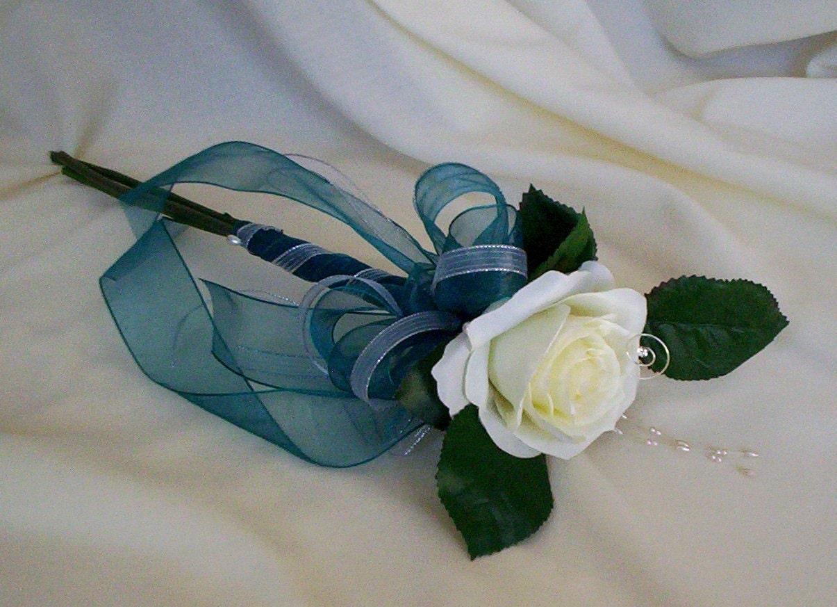 Wedding Bouquets Single Flower : Items similar to teal silk wedding flowers single rose