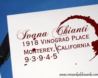 Wine Themed Wedding Stamp, Wine Stain Custom Address Stamp, Large Wine Wedding Stamp, Vineyard Wedding, Sommelier Gift, Wine Ring Stamp