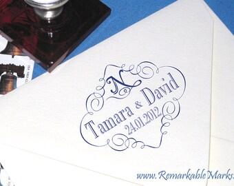Save the Date Stamp, Elegant Calligraphy Personalized Custom Return Address Stamp For Envelope Flap, Book Plate, Monogram Stamp