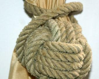 2 Natural Rope Curtain Tie Back Monkey Fist Knot Wrap Around Nautical Decor Tan Khaki Natural