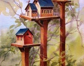 Bird House Country School Watercolor Print