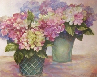 Soothing Art -  Hydrangea Bouquet - Original Watercolor Painting