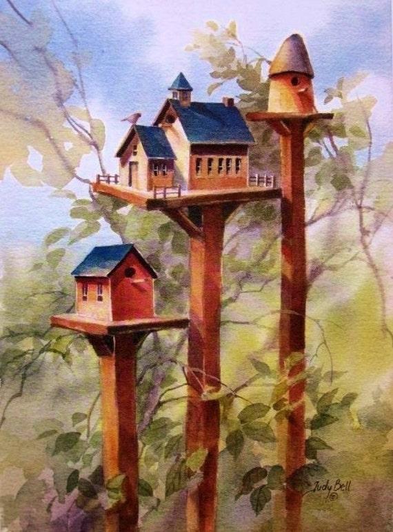 Bird House - Country School - Watercolor Print