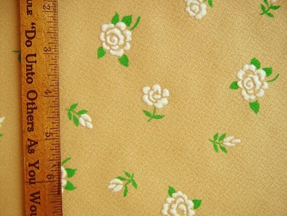 Vintage Flocked Polyester Fabric Maize and White Roses Flocked Fabric Printed Polyester Double Knit Fabric Yardage