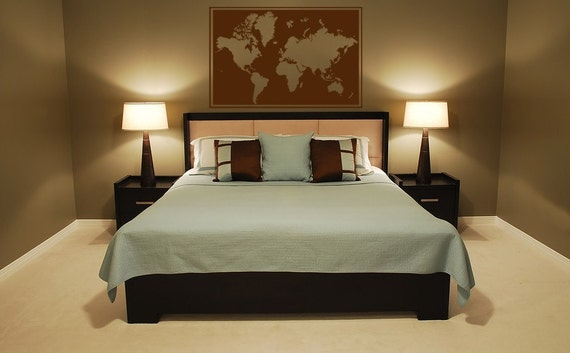 Vinyl Decal Wall Art Sticker Framed World Map Wall Mural