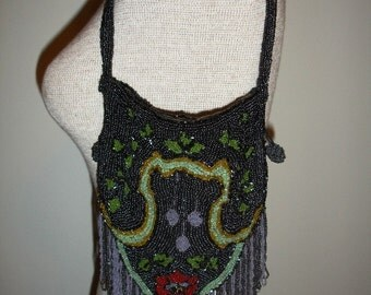 Vintage Deco Flapper 1920's Floral Beaded Purse, made in Belgium
