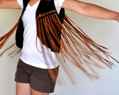 Suede Fringe Vest 60s 70s Black Tan Genuine Leather Festival Rock N Roll Style Small / Medium
