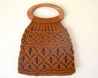 Macrame Tote Bag 1970s Hippie Boho Vintage Double Wooden Handle Brown Handbag Purse
