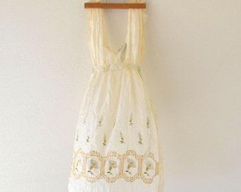 Antique Silk Apron Early 1900s Cream Floral Wedding Boudoir Apron World War I Era Small