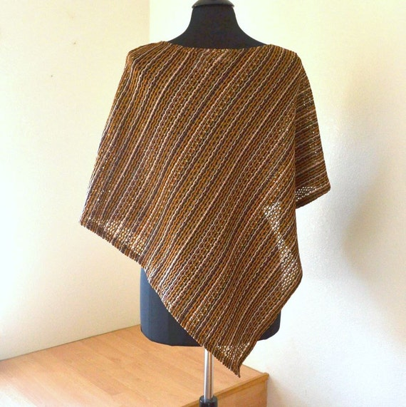 Lightweight Brown Beige Stripe Poncho Small / Medium / Large Vintage Early 90s