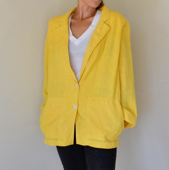 Lemon Yellow Christian Dior Cotton Linen Oversized Blazer Large
