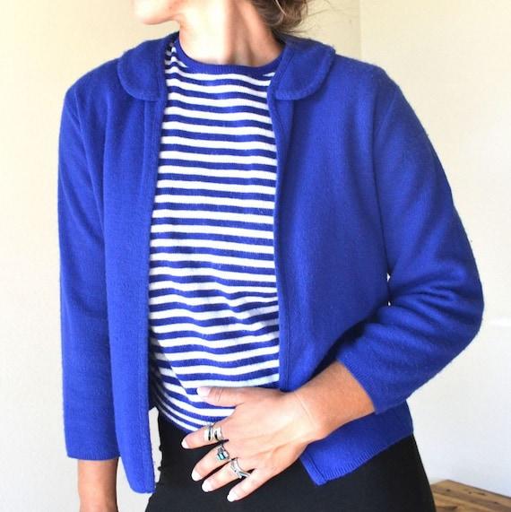 1960s Two Piece Wool Sweater Set Peter Pan Collar Cobalt Blue Small